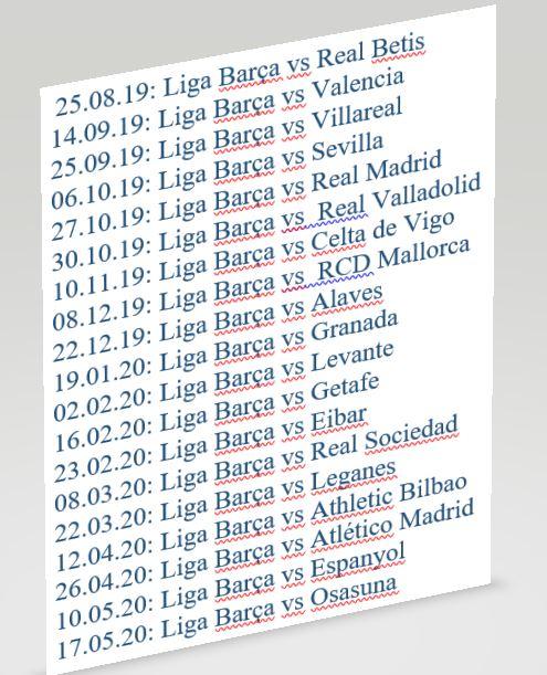 Barca Spielplan 2019/20